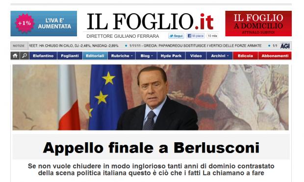 Il Foglio - Appello Finale a Berlusconi